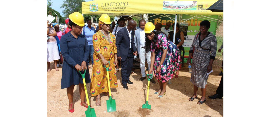 MEC Thandi Moraka officially hands over a construction site to the contractor during a sod turning ceremony held at Runnymede village outside Tzaneen , where a state of the Art Community Library is to be erected