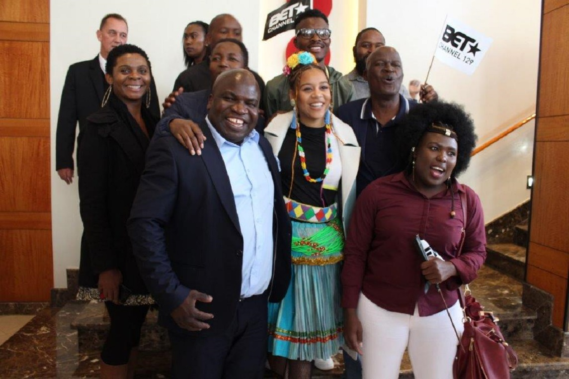 MEC Thandi Moraka and Minister of Sport, Arts and Culture Hon. Nathi Mthethwa joined by fans and family members welcomed Sho Madjozi at OR Thambo International Airport in Johannesburg as she lands on home soil back  from Los Angeles in California where she scooped Black Excellence Television Network  Best New International Act Award, which makes her the first black female to win a BET in South Africa