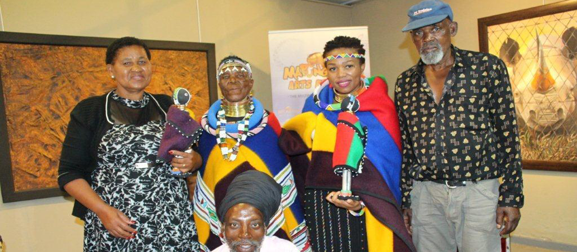 Limpopo Crafters displaying different artworks at the Mapungubwe Arts and Craft Market at Library Gardens