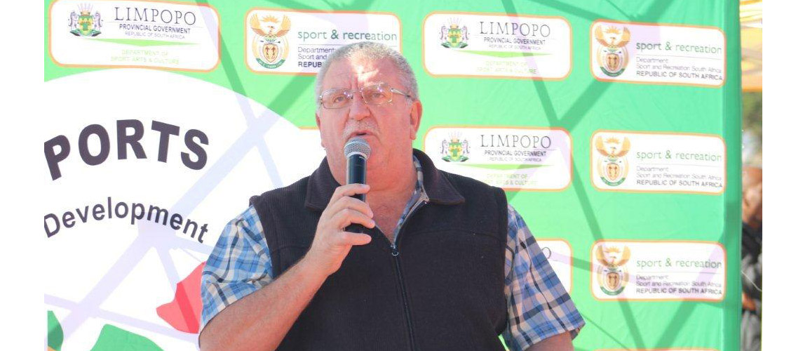 Limpopo Sport Confederation Representative Mr Kobus giving a word of wisdom to the leaners during official opening of the School Sport Games 2017 at Peter Mokaba Stadium
