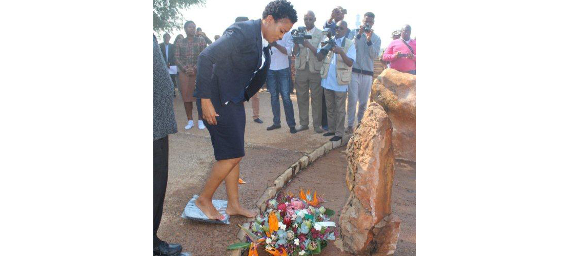MEC for Sport, Arts and Culture, Onnica Mokgobedi at Isivivane Freedom Park in honour of Limpopo Heroes and Heroines that lost their lives during the liberation struggle